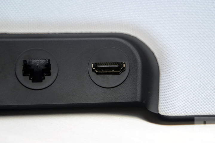 HDMI and ethernet ports on a Sonos Beam Speaker.