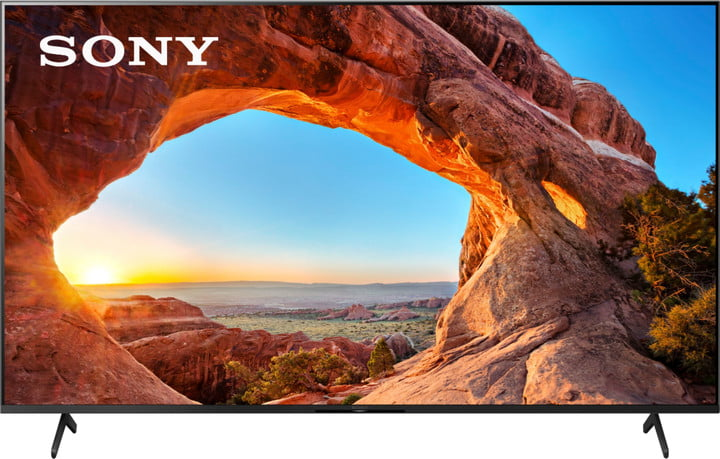 Sony 65 inch 4K smart tv with image of Arches National Park on screen, on a white background.