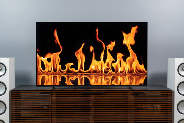 Flames on the screen of a Sony A80J 4K HDR OLED TV.