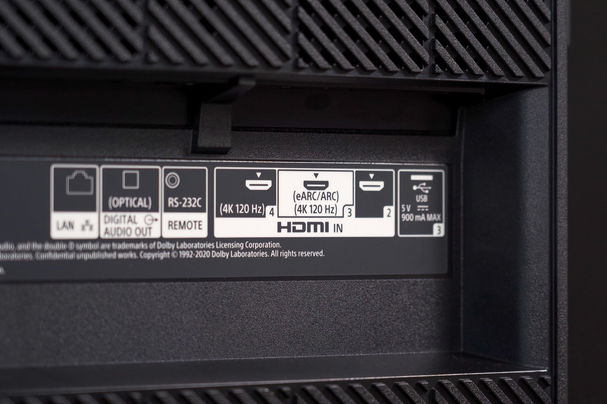 A close up image on the Sony A80J 4K HDR OLED TV's plugins and ports on the backside.