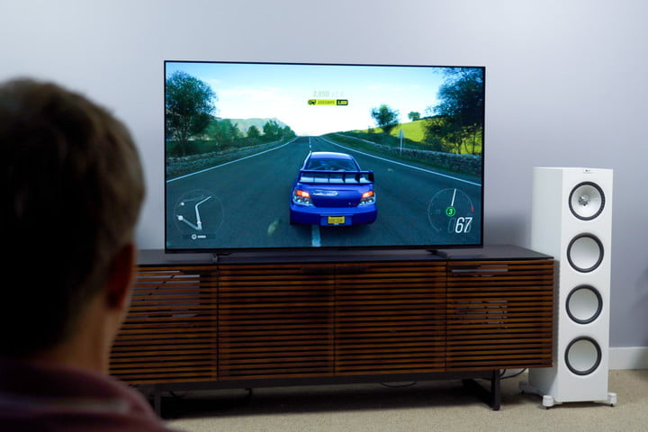 A car video game being played on a Sony A80J 4K HDR OLED TV.