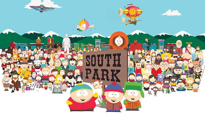 A group photo of the entire character lineup of South Park.