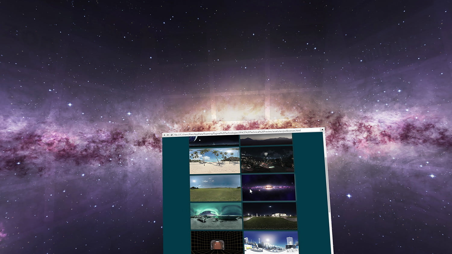 space virtual reality office 1 change background galaxy