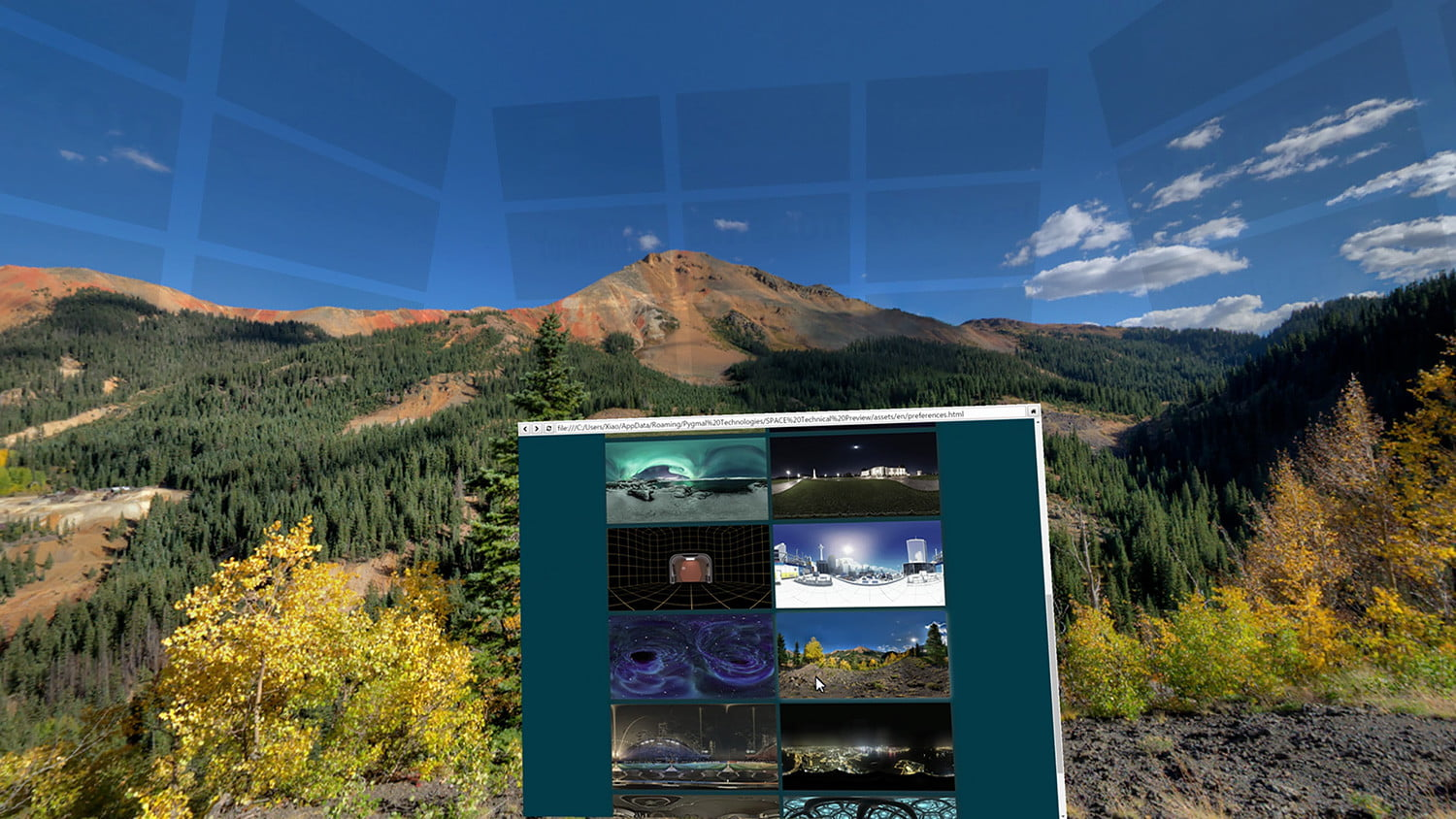 space virtual reality office 2 change background mountain