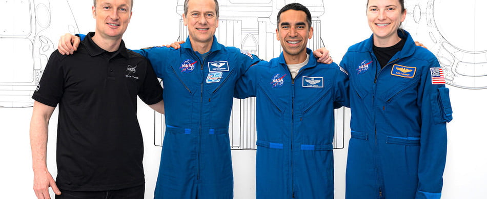 The four astronauts heading to the space station in October 2021.