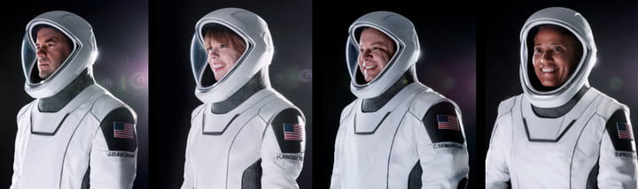 Portraits of SpaceX's first all-civilian crew.