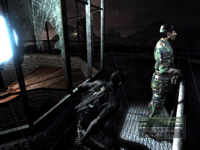 A black-ops soldier stealthily attacks a guard in Tom Clancy's Splinter Cell: Chaos Theory.