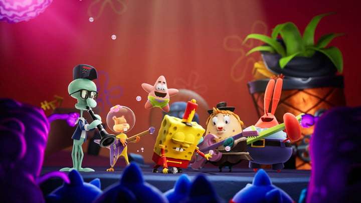 SpongeBob SquarePants and other characters perform in a band.