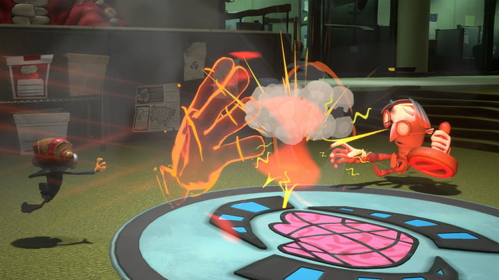 Raz hits an enemy with a giant hand in Psychonauts 2.