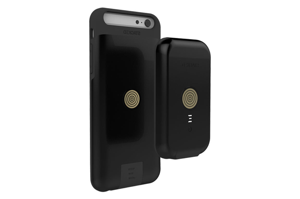 stacked wireless charging iphone charger black back