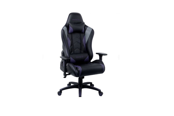 Black and grey gaming chair on a white background.