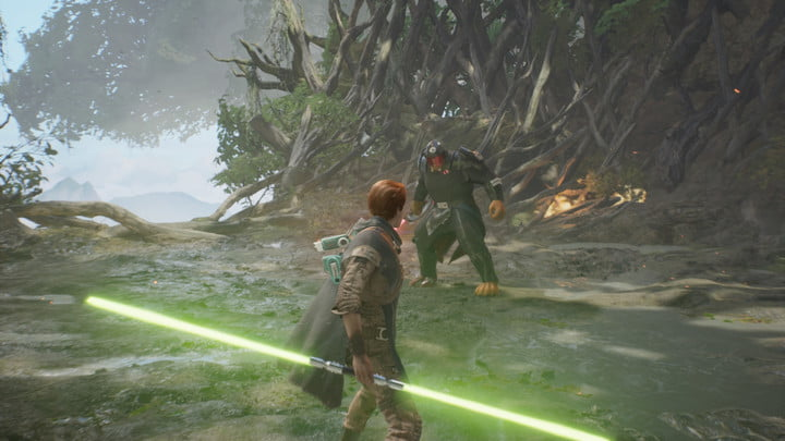 Cal holding a double bladed lightsaber about to fight an enemy.