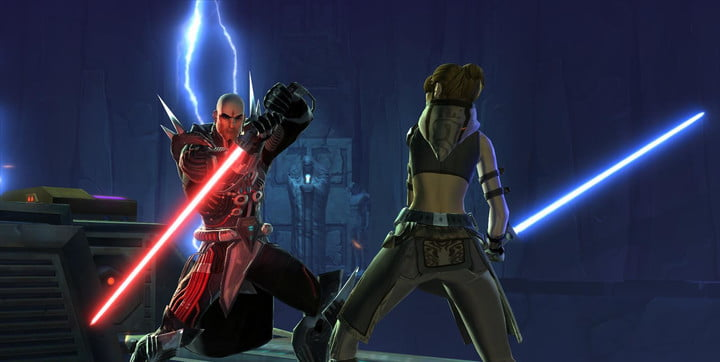 A Jedi and Sith facing off with lightsabers.