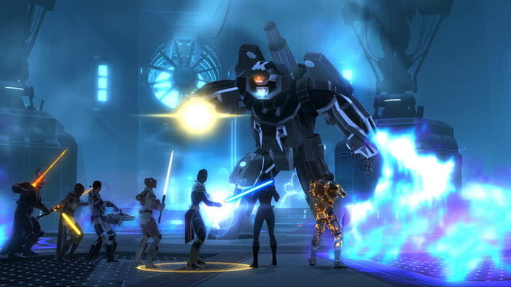 Star Wars The Old Republic squad facing off against boss.
