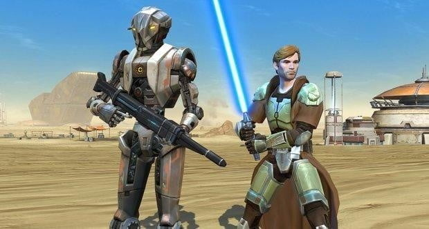 A Jedi character and a a battle droid companion in Star Wars: The Old Republic.