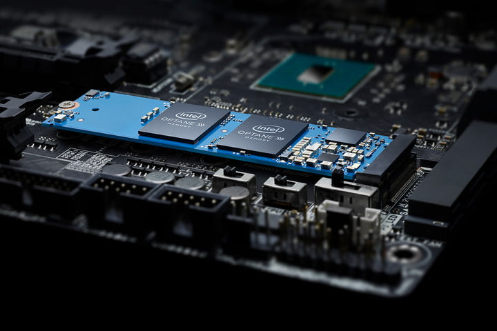 Close-up of a PC motherboard.