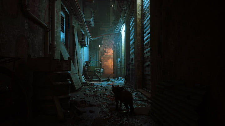 A cat wanders down at alley in Stray.