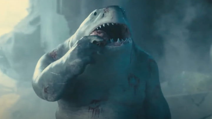 King Shark eating something in The Suicide Squad.