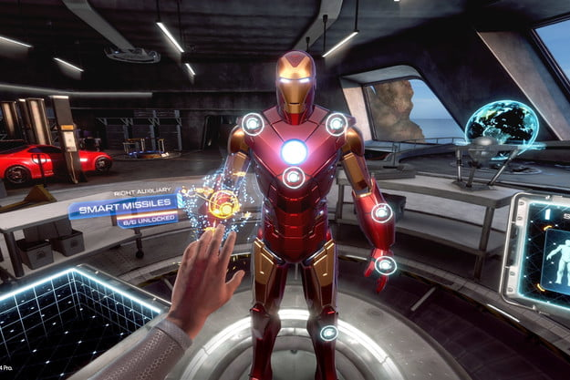 Changing suits in Iron Man VR.