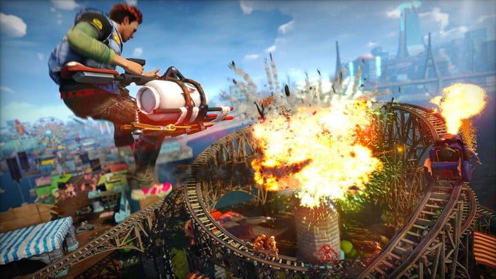 A character shoots a giant explosive in Sunset Overdrive.