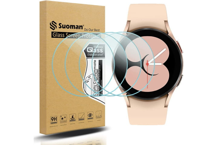 Suoman Tempered Glass Screen Protector shown on a pink Galaxy Watch 4.
