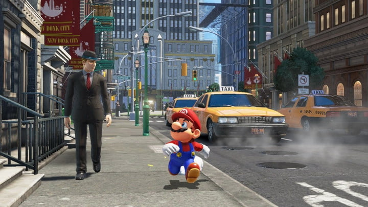 Mario running down the streets of New Donk City.