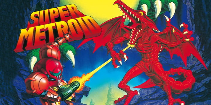 Samus fighting Ridley on the cover of Super Metroid.