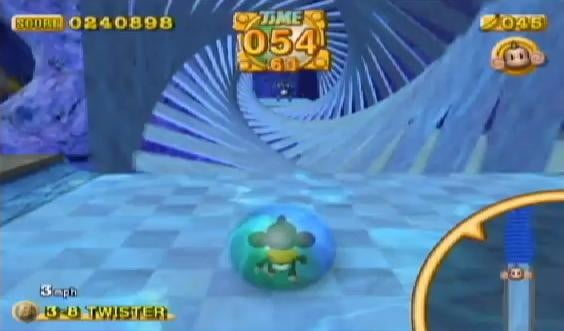 A twisting stage in Super Monkey Ball 2.