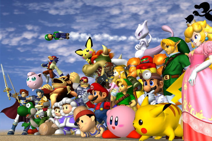 Classic Nintendo characters lined-up for battle in Super Smash Bros. Melee.