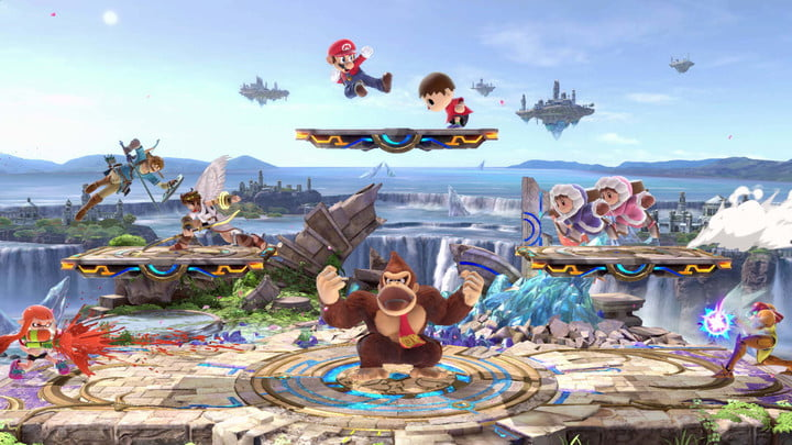 Characters fighting in Super Smash Bros Ultimate.
