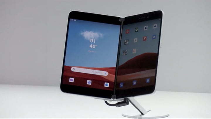 Surface Duo displayed on a stand