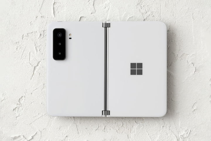 Surface Duo 2 on a textured background.