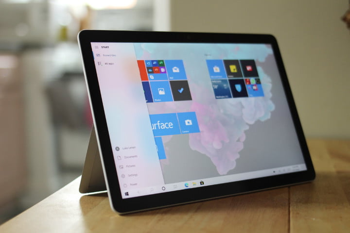 The Microsoft Surface Go 2 with apps on the screen.