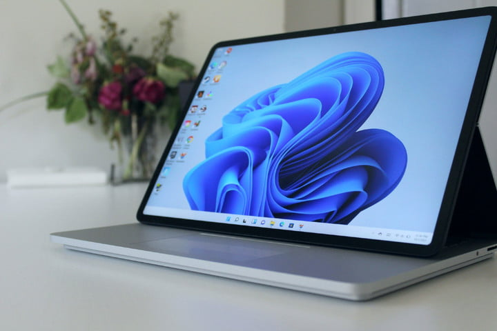 The Surface Laptop Studio pulled forward in Stage Mode.