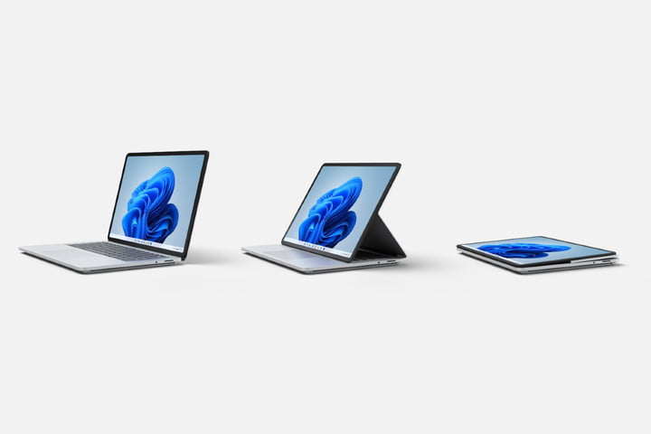 The Surface Laptop Studio in its three different modes.