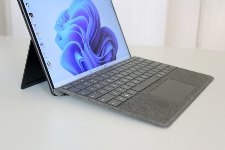 The keyboard tilted up on the Surface Pro 8.