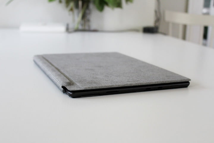 The Surface Pro 8 with the Type Cover closed on top.