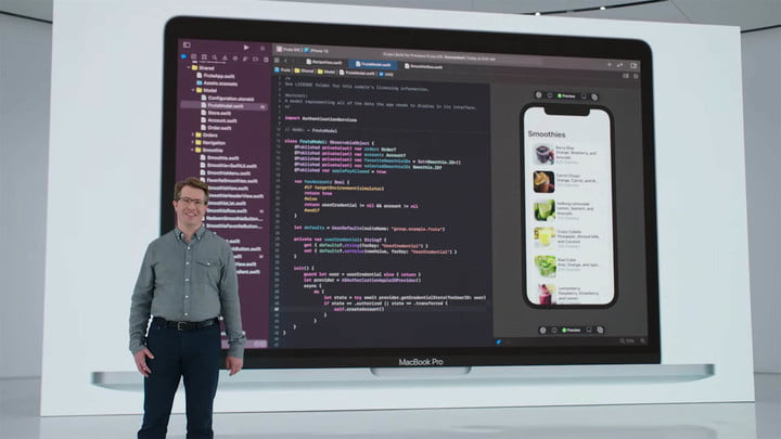 A slide of Xcode running on MacOS Monterey at Apple's WWDC 2021 event