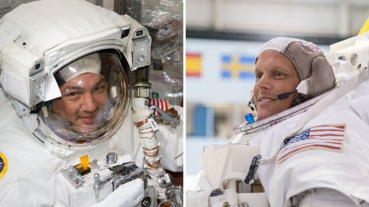 NASA crew members of the SpaceX Crew-4 mission to the International Space Station. Pictured from left are NASA astronauts Kjell Lindgren and Bob Hines.