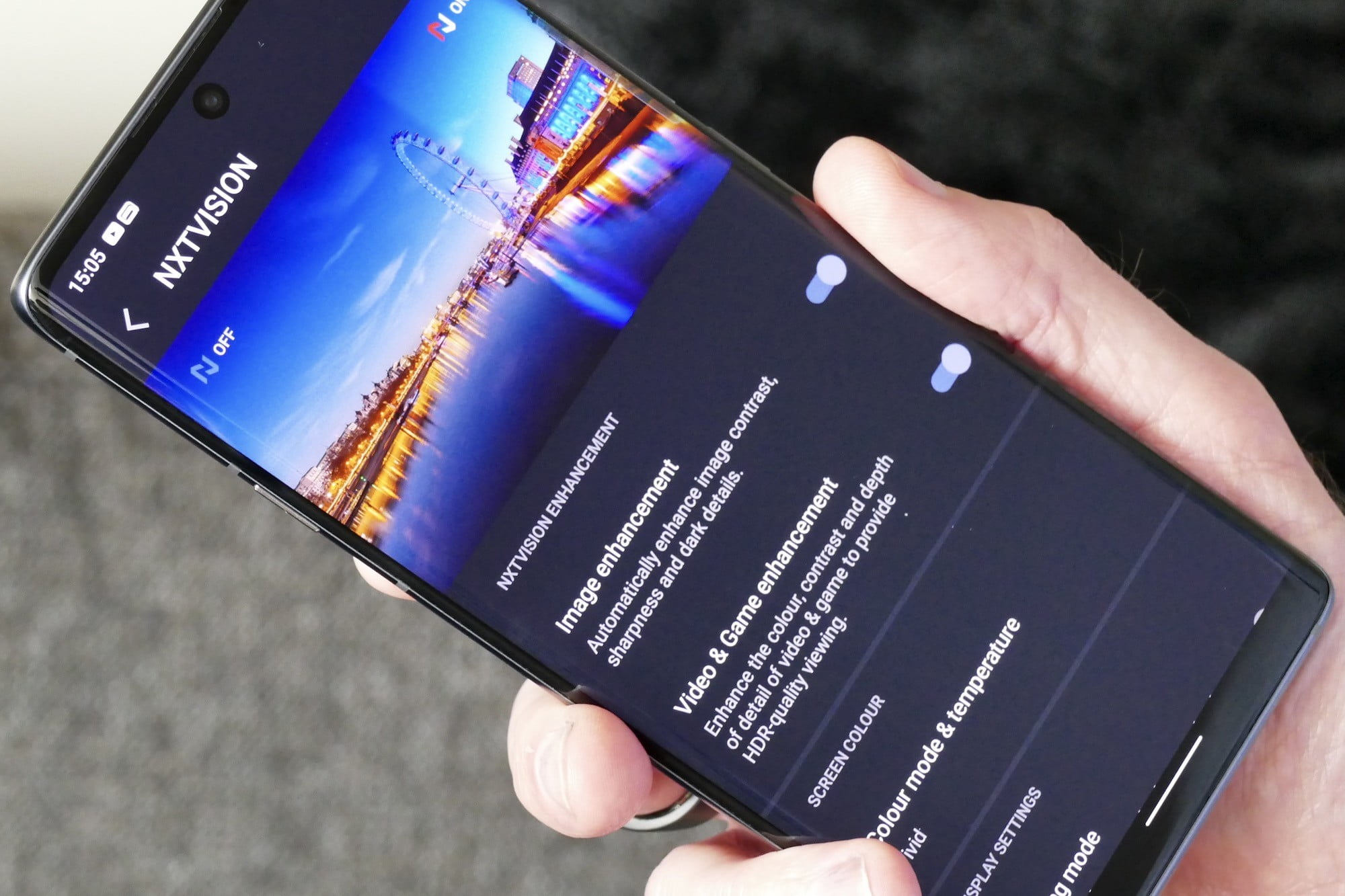 NXTVISION settings on the TCL 20 Pro 5G.