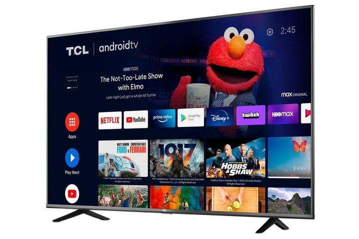 The 55-inch TCL 55S434 4K TV with the Android TV home screen on the display.