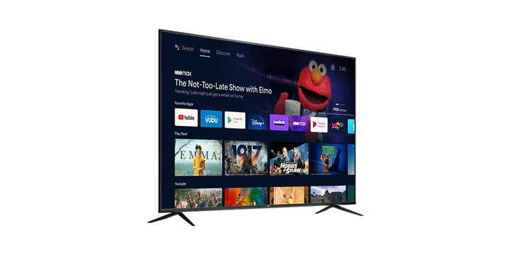 TCL 70-inch 4K TV from a side angle on a white background.