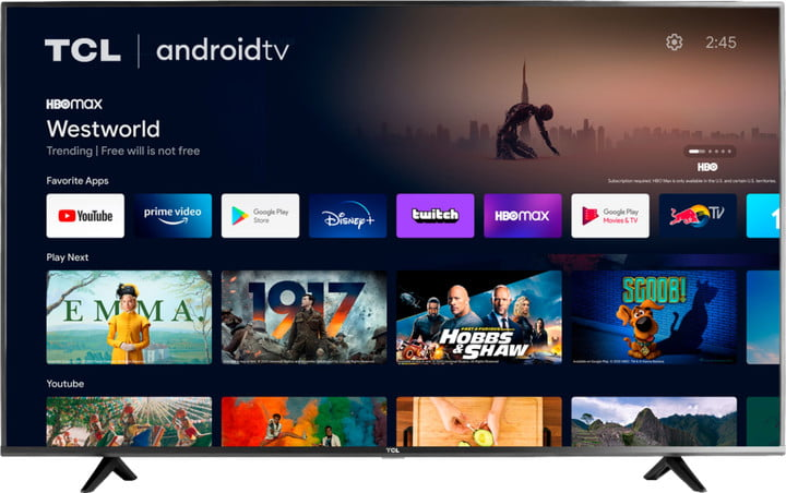 TCL Android 65 inch 4K smart TV displaying various streaming services on a white background.