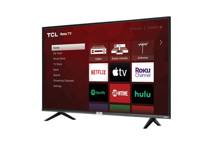 The TCL Class 4 Series 4K UHD Smart Roku TV in an angled view.
