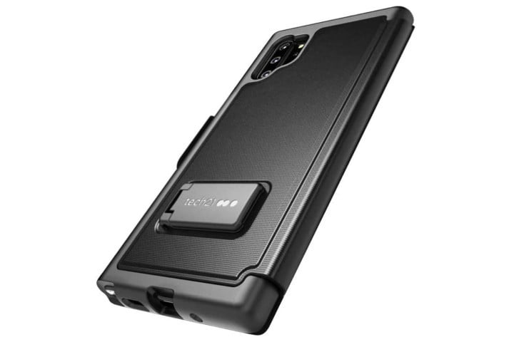 Photo shows the Galaxy Note 10 in a black keyboard case from Tech 21