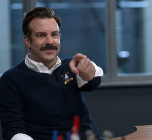 Jason Sudeikis as Ted Lasso in the Apple TV+ original series.