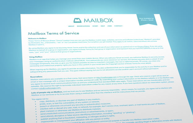 Terms & Conditions Mailbox