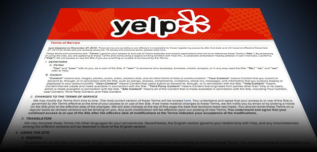 Terms and Conditions Yelp