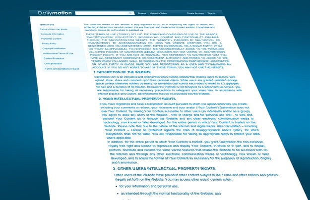 Terms Conditions Dailymotion
