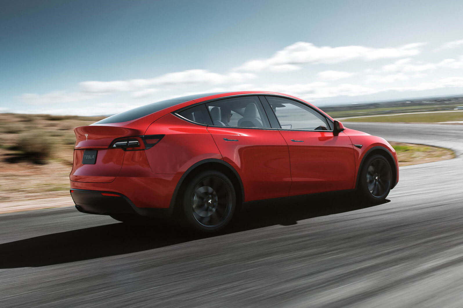 2021 tesla model y electric crossover spotted testing in california render red